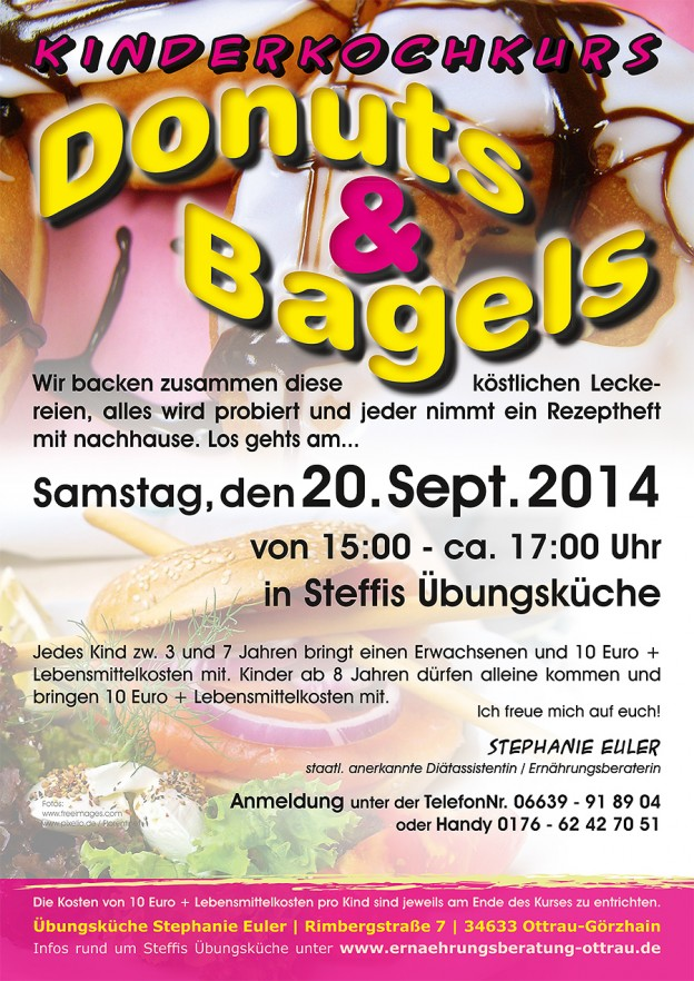 "Kinderkochkurs im September ""Donuts und Bagles"""