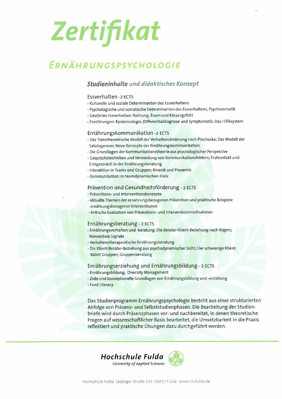 Zertifikat Ernährungspsychologie